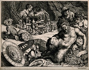 A bacchanalian scene with Pan sleeping and many drinking ves Wellcome V0019447.jpg