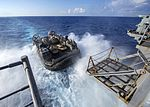 A landing craft, air cushion debarks the amphibious assault ship USS Wasp (LHD 1) for amphibious operations drills. (29206267362).jpg