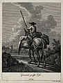 A loaded donkey carrying its drover, seen from behind, with Wellcome V0021157EL.jpg