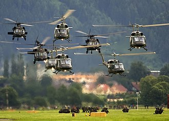 Austrian Air Force - Austrian Air Force exercising rappelling from military helicopters
