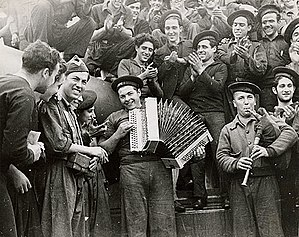 Spanish Republican Navy - Republican sailors playing musical instruments on board battleship Jaime I, Almería, February 1937.