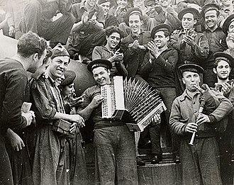 Spanish Republican Navy - Republican sailors playing musical instruments on board battleship Jaime I, Almería, February 1937.