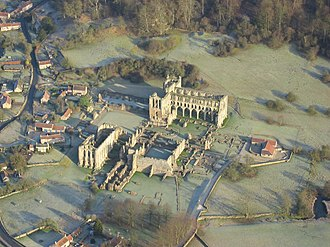 Rievaulx Abbey - Image: Aerial shot of Rievaulx Abbey in winter geograph.org.uk 654091
