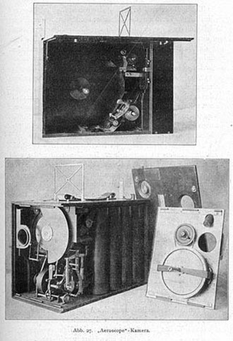Movie camera - The Aeroscope (1910) was the first hand-held movie camera.