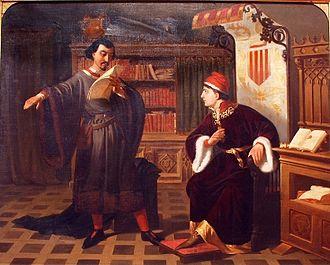 Prince of Viana - Agustí Rigalt Cortiella, Ausias March and the prince of Viana, 1852.