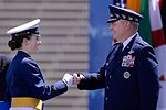 Air Force Chief of Staff Gen. Mark A. Welsh III congratulates Cadet 1st Class Amy Silverbush at the U.S. Air Force Academy's Class of 2016 graduation ceremony (27403661326).jpg