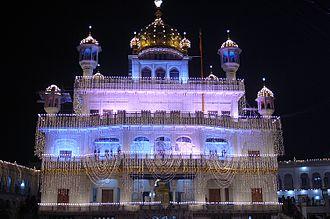 Akal Takht - Akal Takht illuminated on Guru Nanak Gurpurab, Harmandir Sahib complex, Amritsar.