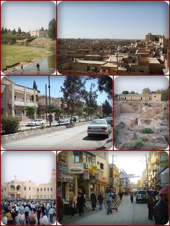 English: Collage of the city of Al Hasakah in ...