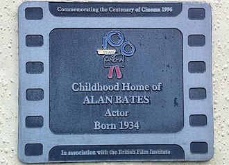 Alan Bates - The Blue Plaque on Alan Bates' childhood home. In association with The British Film Institute