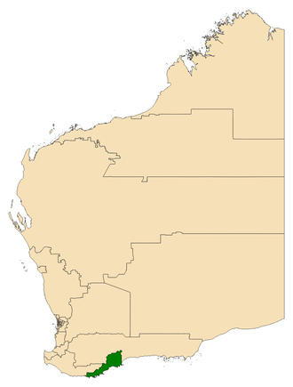 Electoral district of Albany - Location of Albany (dark green) in Western Australia