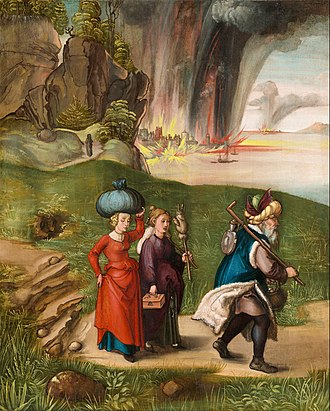 Lot (biblical person) - Albrecht Dürer, Lot and His Daughters, his wife left as a pillar of salt on the road behind