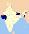 Alcohol prohibition in Indian states and union territories (Gujarat, Kerala and Nagaland and Union Territory of Lakshadweep).png