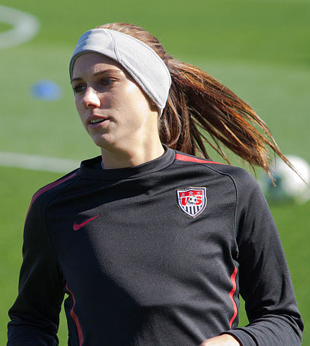 Morgan with the United States women's national team in Frisco, Texas, February 2012. Alex Morgan USA Warmup.jpg