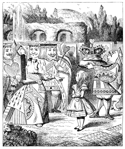 "The Queen of Hearts glaring at Alice, screaming ""Off with her head! Off--"". ""Nonsense!"" said Alice, very loudly and decidedly, and the Queen was silent. Alice par John Tenniel 29.png"