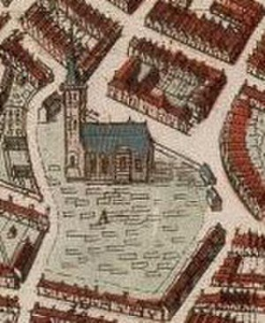 Almenum - The Cathedral of Almenum drawn on a map of Harlingen 1664