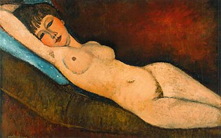 Reclining Nude on Blue Cushion