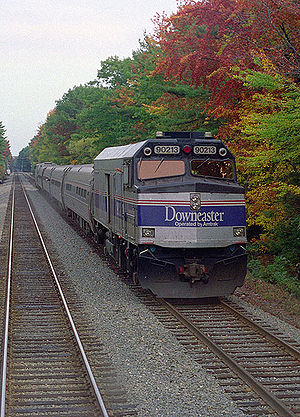 English: A southbound Amtrak Downeaster train ...