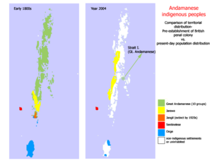 Onge - Distribution of Andamanese tribes in early 1800s and 2004; the Onge areas are in blue.