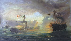 Battle of Angamos - Naval Combat of Angamos by Thomas Somerscales