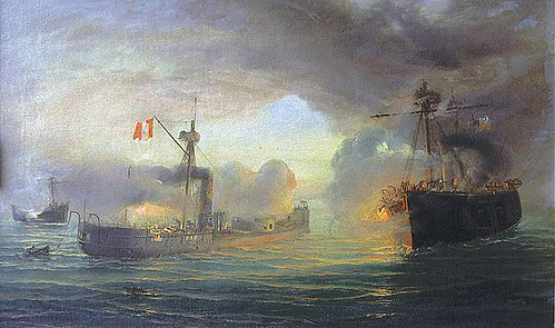 The Battle of Angamos, during the War of the Pacific. Angamos2.jpg