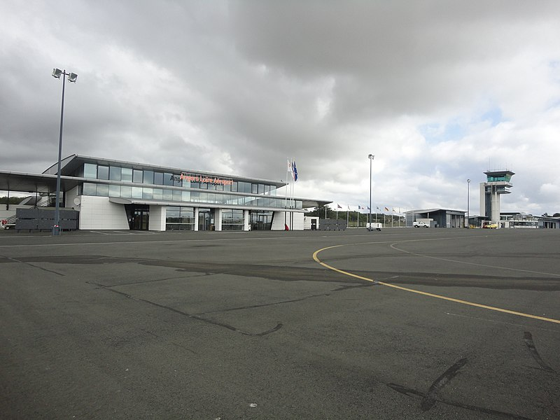 Angers Airport air terminal and control tower seen from airside