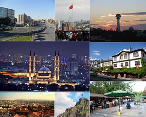 Ankara - Clockwise, from top: Hittite Sun Course Monument and Sıhhiye Square, Anıtkabir, Atakule, Kocatepe Mosque, Beypazarı, Ankara Castle and Kızılay.