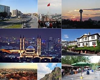 Ankara - Clockwise, from top: Hittite Sun Course Monument and Sıhhiye Square, Anıtkabir, Atakule, Kocatepe Mosque, Beypazarı, Ankara Castle and Kızılay.