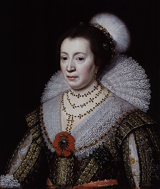 Dudley Carleton, 1st Viscount Dorchester - Portrait of Carleton's wife Anne (née Glemham) by the studio of Michiel Jansz. van Mierevelt, circa 1625