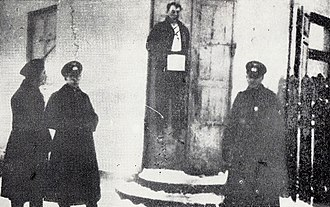 Wawer massacre -  Antoni Bartoszek hanged by the Germans near the entrance to his restaurant at Wawer 27 December 1939