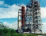 Apollo 12 Saturn V rollout past the Mobile Service Structure (MSS).jpg