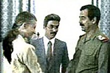 April Glaspie, Sadoun al-Zubaydi and Saddam Hussein.jpg