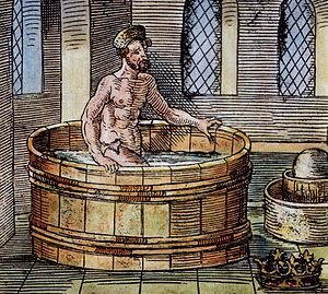 Eureka (word) - 16th-century illustration of Archimedes in the bath, with Hiero's crown at bottom right