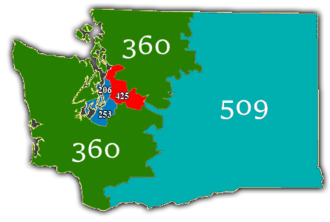 Area code 425 - Map of Washington's area codes. Area codes highlighted in red is the location of the area code.
