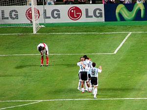 Argentina celebrates goal%2C Copa Am%C3%A9rica 2007