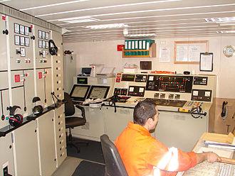 Engine department - The engine control room on the Argonaute.