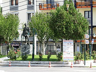 Aridaia - View of the central square of Aridaia with Aggelis Gatsos' statue.
