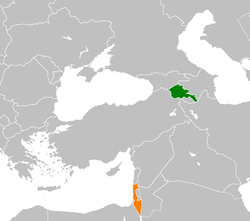 Map indicating locations of Armenia  and  Israel