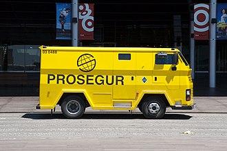 Cash-in-transit - Prosegur Armored car in Barcelona