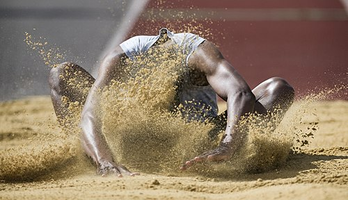 Army Athletics Long Jumper at The Inter Corps Athletics Competition at Tidworth, Wiltshire MOD 45152793 (cropped).jpg