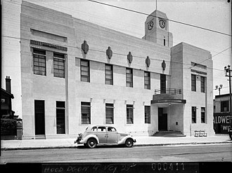 Municipality of Ashfield - Ashfield Town Hall in 1938. The original Victorian building was extensively remodelled in the Art Deco style in the 1920s. This building was demolished in the 1970s to make way for Ashfield Mall and the current Civic Centre.