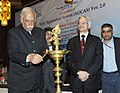 Ashok Gajapathi Raju Pusapati lighting the lamp at the inauguration of the NOC Application System (NOCAS) Version 2.0, in New Delhi. The Secretary, Ministry of Civil Aviation, Shri R.N. Choubey is also seen.jpg