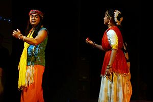 "Culture of Assam - Actors of Abinaswar Gosthi performs the play""Surjya Mandirot Surjyasta"""