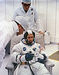 Astronaut Donn F. Eisele suiting up on launch day.jpg