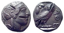 tetradrachm from Ancient Athens with multiple test cuts
