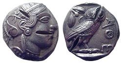 Athens tetradrachm with multiple test cuts