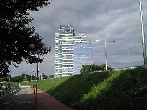 ESET (IT security company) headquarters in Bratislava, Slovakia. Aupark Tower 2009.jpg