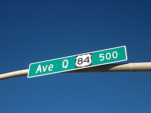 U.S. Route 84 - US 84 is known in Lubbock as Avenue Q, a major downtown thoroughfare.