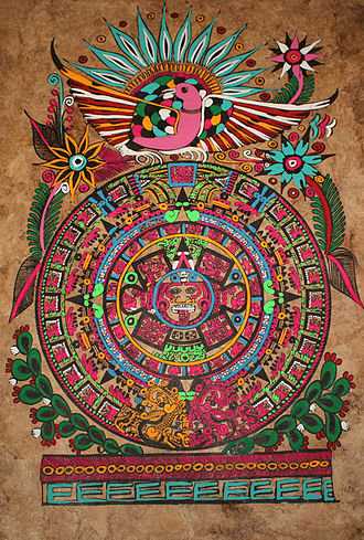 Aztec sun stone - Mexican Amate paper craft on Aztec sun stone