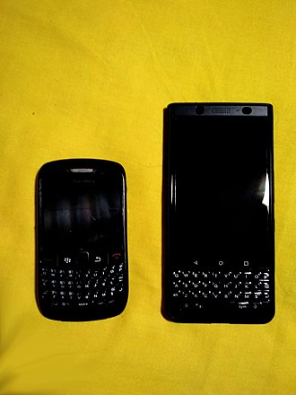 """BlackBerry Mobile - 2009 Blackberry Curve with BlackBerry OS 5.0 and 2017 Blackberry KEYone LE with Android 7.1 """"Nougat"""""""