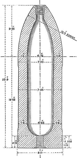 BL 8 inch Mk I – VII naval gun - Image: BL 8 inch common shell Mk I diagram